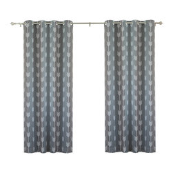 "Best Home Fashion - Arrow Print Room Darkening Grommet Top Curtain 84""L - 1 Pair, Grey - Our simple and modern Arrow print curtains are a great way to brighten up any home."