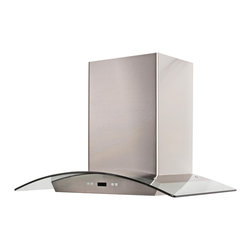 Cavaliere - Cavaliere-Euro SV218DeI36 Island Mount Range Hood - Cavaliere Stainless Steel 218W Island Mounted Range Hood with 6 Speeds, Timer Function, LCD Keypad, Aluminum Grease Filters, and Halogen Lights