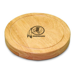 "Picnic Time - Washington Redskins Circo Cheese Board in Natural Wood - The Circo by Picnic Time is so compact and convenient, you'll wonder how you ever got by without it! This 10.2"" (diameter) x 1.6"" circular chopping board is made of eco-friendly rubberwood, a hardwood known for its rich grain and durability. The board swivels open to reveal four stainless steel cheese tools with rubberwood handles. The tools include: 1 cheese cleaver (for crumbly cheeses), 1 cheese plane (for semi-hard to hard cheese slices), 1 fork-tipped cheese knife, and 1 hard cheese knife/spreader. The board has over 82 square inches of cutting surface and features recessed moat along the board's edge to catch cheese brine or juice from cut fruit. The Circo makes a thoughtful gift for any cheese connoisseur!; Decoration: Engraved; Includes: 1 cheese cleaver (for crumbly cheeses), 1 cheese plane (for semi-hard to hard cheese slices), 1 fork-tipped cheese knife, and 1 hard cheese knife/spreader"