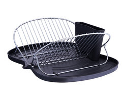 None - Butterfly-folding Metal Wire Dish Rack - Designed with chrome-plated steel,this dish drainer folds into a butterfly shape for easy storage.