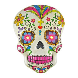 White Day of the Dead Skull Wall Hanging With LED Eyes - This wall hanging features two festive LED lights for eyes. Those coupled with the bold colors and 3-D design will make a space totally pop.