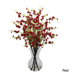 Nearly Natural - Cherry Blossoms and Vase Floral Arrangement - This elegant arrangement features a stunning contrast of bursting cherry blossoms and deep brown stems for a striking accent to your living space. A perfect finishing touch to any home or office, this arrangement is complete with a clear glass vase.