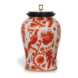 """Scalamandre Maison by Port 68 - Arcadia Jar, Coral - Make a bold and bright statement with the Arcadia Coral Jar. Inspired by Scalamandre's classic """"resist"""" fabric, this jar features an intricate bird print in vibrant coral hues. Accented with a black wood lid and solid brass square bamboo finial, this piece makes a chic addition to any traditional decor."""