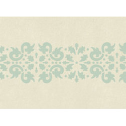 "Stencil Ease - Jaipur Damask Border Stencil - Actual Size 5"" high x 10"" wide on a 6"" x 18"" plastic stencil sheet. Quickly and easily create ambience in your home with this Jaipur Damask Border Stencil. This detailed laser-cut stencil is a professional designer's dream. Our laser-cutting produces crisp clean smooth edges. We suggest you visit your local paint store for color ideas using contrasting colors or even trying a semi-gloss urethane (over a previously painted/stained surface) for a subtle effect. Complete Kit Contains: 1 SSO2074 Jaipur Damask Border 6"" x 18"" stencil sheet 1 T7602 2"" High-density Foam Roller w/ 8"" handle 4 MDA02081 Colonial Green(2 oz. bottles) mixed w/ glaze (glaze is available at your local paint store)."