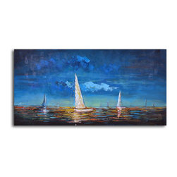 "Omax Decor - Sailing at Dusk Hand painted oil canvas - Overall size: 20"" x 40"". Enjoy a 100% Hand Painted Wall Art made with oil paints on canvas stretched over a 1"" thick wooden frame. The painting is professionally hand-stretched and ready to hang out of the box. With each purchase of our art you receive a one of a kind piece due to the handcrafted nature of the product."