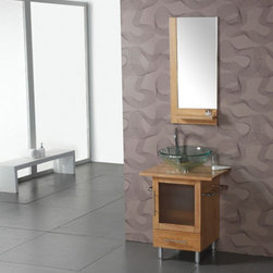 Legion Furniture - Legion Furniture Rossland 24 in. Single Bathroom Vanity with Optional Mirror Mul - Shop for Bathroom from Hayneedle.com! The Legion Furniture Rossland 24 in. Single Bathroom Vanity with Optional Mirror has a modern look designed specifically for its clear vessel sink. This versatile all-wooden structure features a single pull-out drawer cabinet with opaque glass door a towel bar on either side for added convenience and boasts and expansive top that provides space for the basin and a few toiletries. This masterfully crafted vanity comes as is or with a contemporary-style mirror with matching wooden accents and a built-in shelf.Additional Information Mirror Dimensions: 2L x 18W x 33.5H inches About Legion Furniture LLCLegion Furniture LLC is a Sacramento California-based company that specializes in commercial and residential furniture. The company offers thousands of items all made by expert craftsmen. Their product lines incorporate a wide variety of styles to address the needs of every designer. From contemporary vanities to traditional barstools Legion Furniture can outfit your home in the style of your dreams.