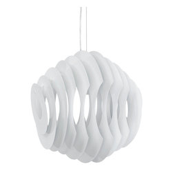 Fish Aluminum Pendant Light - Swim through your room with an unbounded sense of creativity. The Fish modern light pendant helps you take to the skies and dive into the ocean with a fluid piece that connotes waves of progress no matter what the altitude. Made of painted aluminum strips, Fish adjusts from a height of 20-59 from your ceiling.