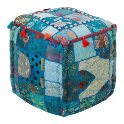 POUF-89 Karma Pouf - This beautiful square pouf is hand made from recycled materials. In a patchwork pattern of blues and greens it is the perfect addtion to your green design.