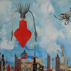 Squid Love To Hover (Original) by Mickey Bond - A lyrical mixed media painting in which squid fly over an imagined city sky line.
