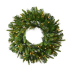 """Vickerman - Cashmere Wreath 30WmWht B/O Timer (30"""") - 30"""" Cashmere Pine Wreath with 155 PE/PVC Tips.  30 Warm White LED Mini Lights with Battery Operated Timer. On a Metal Ring Construction"""