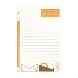 Ruff House Art - Chevron Stripes Notepad, Old School Desk - Have you been on the lookout for the perfect teacher gift? Look no further, this notepad makes the perfect gift. However, there is no shame in buying one for yourself - how can you resist this simple, classic, desk themed notepad?