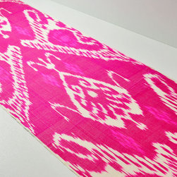 3 yards of handmade pink ikat fabric -