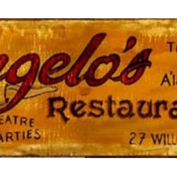 "Red Horse Signs - CUSTOM Kitchen Signs  Angelo's Restaurant and Cafe, 11x32"" - A  Vintage-look  Kitchen  Sign  for  your  Antique  Kitchen          Our  Vintage  Kitchen  Signs  add  just  the  right  sense  of  class  to  your  rustic  kitchen  decor.  And  because  you  can  customize  the  wording  on  this  sign,  you  can  change  Angelo's  Restaurant  and  Cafe  into  Jessica's  Kitchen  or  Liz's  Country  Cafe.  With  a  little  imagination,  you  can  create  a  personalized  gift  that  will  bring  her  satisfaction  for  years.  Each  sign  measures  32  wide  and  11  high.          Each  of  these  vintage  kitchen  signs  is  painted  directly  onto  distressed  barnwood  panels,  creating  a  replica  that  looks  like  a  hand-painted  nostalgic  sign.  Customize  the  wording  on  your  sign  by  calling  our  toll-free  customer  service  line  at  888-OLD-BARN.          Please  allow  2-3  weeks  for  delivery."