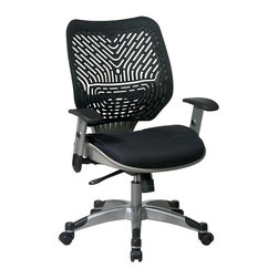 Office Star - Office Star Space: REVV Raven Managers Chair with Space-Flex Back - Office Star - Office Chairs - 86M33C625R - Long hours at task are a breeze with the REVV Raven SpaceFlex office Chair from Office Star. This chair offers the individual exceptional seated comfort with its ventilating and pressure-relieving SpaceFlex contoured panel back and Raven mesh seat. Pneumatic seat height adjustment locking and adjustable tilt and a waterfall seat edge further the comfort-first orientation while 360 degree swivel and a 5-wheel caster base provides full freedom of movement. Self adjusting backrest support system with breathable mesh seat.