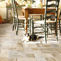 Adirondack - Mountain Mist - The Revolutions Tile line from Mannington will change your mind about laminate flooring. This Adirondack tile in Mountain Mist is just one of their new design. With approximately 20 stones per plank and 5 unique planks per sku, Adirondack has astounding variations within the series visuals.