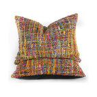 Pfeifer Studio - Colorful Silk Thread and Leather Pillow - This vibrant pillow comes alive with silk thread from India and is balanced out with a solid leather backing. Each pillow features raw silk that comes from a tribal community on the banks of the Ganges. This rainbow of color is truly a work of art and would be a bold addition to your couch or bed.