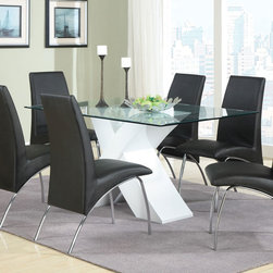 Coaster - Ophelia Dining Table - White - The sleek contemporary style of this set will create a sophisticated focal point in your updated kitchen or dining room. The bold X table base compliments the black vinyl arch design of the chairs. The graceful curves and designs of this group as a whole add to the chic modern appeal.