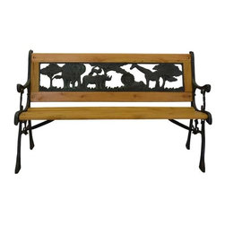Pier Surplus - Junior Safari Park Bench -- Cast Iron Kids Park Bench With Resin Back #PB10014 - A park bench like this one is a point of interest in your back yard as well as a great place to enjoy your garden with your kids.