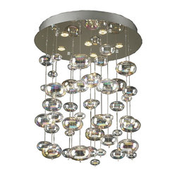"PLC Lighting - Bubbles Modern Iridescent Halogen Chandelier - The six-light Bubbles Chandelier from PLC Lighting will provide the ultimate lighting solution with class and style. This contemporary chandelier is created with modern living in mind and it is captured perfectly in the way this hangs. Expertly finished in polished chrome, light is emitted through bubble-shaped iridescent glass. The unique refraction of light lends to a pleasant atmosphere. This chandelier accommodated six (6) 50 watt, G10 type halogen lamps, that are included. Adding to its appeal, the glass ""bubbles"" may be removed easily to achieve a shorter length."
