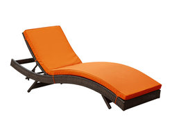 Modway Furniture - Modway Peer Chaise in Brown Orange - Chaise in Brown Orange belongs to Peer Collection by Modway Don't let moments of relaxation elude you. Peer is a serenely pleasant piece comprised of all-weather cushions and a rattan base. Perfect for use by pools and patio areas, chart the waters of your imagination as you recline either for a nap, good read, or simple breaths of fresh air. Moments of personal discovery await with this chaise lounge that has fold away legs for easy storage or stackability with other Peer lounges. Set Includes: One - Peer Lounge Chaise Lounge (1)