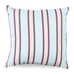 Sky Blue Stripe Outdoor Pillow - Ivory and peach handwriting details in the backdrop of the Sand Dollar Script Outdoor Pillow suggest limitless depth to the design, while the neutral-hued, teal-shadowed seaside treasure which serves as the piece's focal point contributes a sense of the timeless. The watercolor inspirations and soft natural palette of this pillow make it ideal for pairing with weathered woods or fibers.