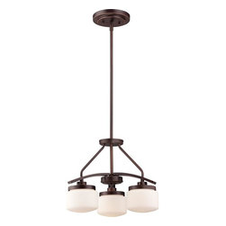 Nuvo - Three Light - Chandelier - Russet Bronze Finish with Etched Opal Glass - Shade: Etched Opal Glass.  Bulb Info: 3 x 60W Medium Base G16½ Incandescent (Bulb Not Included).  Style: Transitional.  UL Certified: Dry Location.  . Color/Finish: Russet Bronze. 16 in. W x 12.38 in. H (9.8 lbs)The Austin collection finished in polished nickel or russet bronze with etched opal glass globes brings contemporary style and soft, even illumination to every room of the house.  Multi-light Austin chandeliers and pendants are ideal for living and dining areas or kitchen islands, while the Austin wall mounts work equally well as both vanities and sconces.