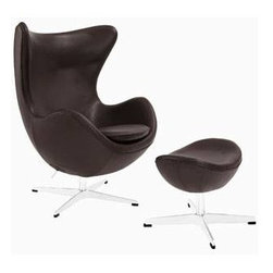 """LexMod - Glove Leather Lounge Chair and Ottoman in Brown - Glove Leather Lounge Chair and Ottoman in Brown - Delight in perfect symmetry with the harmonious Glove Chair. Designed with sprawling wing tips and amorphous form, the Glove Chair is a study of opposites built from the most exacting design specifications. Layered in fine Italian leather over a cozy foam frame, adorn yourself with precision as you embark on a more sophisticated state. Set Includes: One - Glove Chair in Aniline Leather One - Glove Ottoman in Genuine Leather High Density Foam Cushioning, Molded Fiberglass Frame, Luxurious Aniline Leather, Mirror Finished Aluminum Base, 360 Degree Swivel Overall Product Dimensions: 50""""L x 35""""W x 42.5""""H Overall Lounge Chair Dimensions: 31.5""""L x 35""""W x 42.5""""H Overall Ottoman Dimensions: 15.5""""L x 21.5""""W x 16""""H Lounge Chair Seat Height: 16""""H Ottoman Height: 13.5 - 16""""H - Mid Century Modern Furniture."""