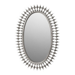 "Emporium Home - Emporium Home Wellington Silver Leaf Mirror - Bold and dramatic, the oval Wellington mirror punctuates the wall with edgy glamour. Decorative accents spike the handcrafted shape with captivating texture and dimension. 37.5""W x 56.5""H; Silver leaf finish; Hanging hardware included"