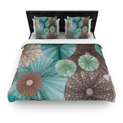"Kess InHouse - Heidi Jennings ""Atlantis"" Teal Brown Woven Duvet Cover (King, 104"" x 88"") - Add a splash of artistically inclined comfort to the average down comforter with a large focus to your bed! Our duvet cover is made of a beautifully crafted woven polyester fabric on top and a comforting and soft cotton/poly blend on bottom! We highly recommend washing your artwork before laying it onto your bed for added comfort and softness! These are totally machine washable and won't fade!"