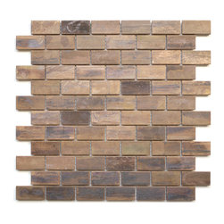 Eden Mosaic Tile - Medium Brick Antique Copper Mosaic Tile, Sample - This copper mosaic tile is made with real pieces of copper that have an antique finish. This mosaic features medium sized brick shaped copper tiles because of the size of the individual pieces this tile is suitable for wrapping around slightly rounded walls and other objects. The tiles in this sheet are mounted on a nylon mesh which allows for an easy installation. Imported.