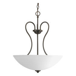 Progress Lighting - Progress Lighting Heart Transitional Inverted Pendant Light X-02-5593P - Inspired by love, this Progress Lighting Heart Transitional Inverted Pendant Light is simply beautiful. The iron arms with an antique bronze finish mimic the shape of a heart, making it the main focal point of this cleaver design. It features an etched glass shade making this design very modern. This lighting would look absolutely stunning in any room of the house that needs some bold extra love, especially that of the living room.