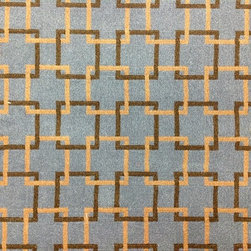 The Carpet Workroom & Reclamation Center - Woven Wool Carpet Remnant with Geometric Pattern - This woven wool carpet remnant is brown and cream with a geometric pattern. This carpet remnant can be fabricated into a custom area rug, or installed as a stair runner.