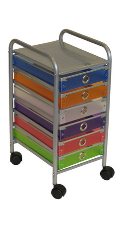 """4D Concepts - 4D Concepts 6 Drawer Rolling Storage in Multi Color Drawers - With this 6  slim drawer storage tower you can add that needed storage to any room in the home.  The  6 drawer (Inside dim 9 3/4""""w x 14 1/8""""l x 2 3/8""""h)multi colored foldable polypropylene drawers snap together with silver buttons and come with a decorative silver railing around the top of the drawer.  The silver colored finger pulls make it easy to pull the drawer in and out of the unit. The frame is made out of metal and is then powder coated  to give it a durable surface. The 6 drawers rest on a metal rail on the frame and come with a stop on the back.  The perforated metal top offers a sense of style to the top of the unit as well as adding additional storage.   Rounding the top and having 2"""" casters make this unit easy to move around the home.  Clean with a dry non abrasive cloth.   Assembly required."""