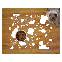 Sniff It Out Designer Pet Mats - Dog Pattern Pet Food Mat, White - Premium-quality clear vinyl mats uniquely designed to resemble beautiful art painted directly onto your floor. The smoothness of the vinyl allows for easy cleanup and lays perfectly flat. Sniff It Out Pet Mats make great gifts and will be a conversation piece that your friends and family won't stop talking about. Made in the USA.