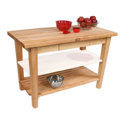 "John Boos - BoosBlock Prep Table - Features: -BoosBlock collection. -Solid hard maple construction. -1 3/4"" End grain work surface. -Stands 36"" H. -One shelf. Customize Your Work Surface -36"" W x 24"" D. -48"" W x 24"" D. -60"" W x 24"" D. -48"" W x 30"" D. -60"" W x 30"" D. -48"" W x 36"" D. -60"" W x 36"" D. John Boos: A Commitment to Eco-Friendly Practices: John Boos & Co is firmly committed to managing environmental matters as an integral part of their business practice. It is their policy to ensure the environmental integrity and consideration of their processes and facilities at all times. They maintain a high standard of recognition in treating our environment with respect while manufacturing their products. Some of the steps they take to keep this promise include: -Using only formaldehyde-free and low-emission formaldehyde gluing processes in manufacturing their butcher blocks. -Selecting individual trees for harvest, encouraging forests to renew and regenerate themselves naturally and prolifically. -Maintaining active recycling programs, with 95% of all raw materials, scrap, and sawdust being recycled as fuel to heat their kilns. With John Boos, the truth is black and white: they're green!"