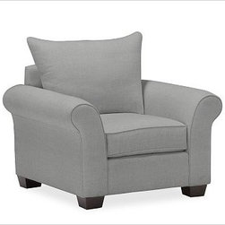 """PB Comfort Roll Upholstered Armchair Knife-Edge, Down-Blend Wrap Cushions, Washe - Built by our own master upholsterers in the heart of North Carolina, our PB Comfort Upholstered Roll-arm Armchair is designed for unparalleled comfort with extra-deep seats and three layers of padding. 41.5"""" w x 40"""" d x 37"""" h {{link path='pages/popups/PB-FG-Comfort-Roll-Arm-4.html' class='popup' width='720' height='800'}}View the dimension diagram for more information{{/link}}. {{link path='pages/popups/PB-FG-Comfort-Roll-Arm-6.html' class='popup' width='720' height='800'}}The fit & measuring guide should be read prior to placing your order{{/link}}. Choose polyester wrapped cushions for a tailored and neat look, or down-blend for a casual and relaxed look. Choice of knife-edged or box-style back cushions. Proudly made in America, {{link path='/stylehouse/videos/videos/pbq_v36_rel.html?cm_sp=Video_PIP-_-PBQUALITY-_-SUTTER_STREET' class='popup' width='950' height='300'}}view video{{/link}}. For shipping and return information, click on the shipping tab. When making your selection, see the Quick Ship and Special Order fabrics below. {{link path='pages/popups/PB-FG-Comfort-Roll-Arm-7.html' class='popup' width='720' height='800'}} Additional fabrics not shown below can be seen here{{/link}}. Please call 1.888.779.5176 to place your order for these additional fabrics."""