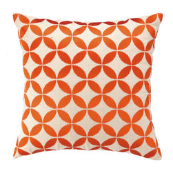 """Courtney Cachet - Circle Embroidered Decorative Pillow - The modern prints and vibrant colors of this pillow mirror the designer's well-known positive and energetic attitude for a vibe that can only be described as happy and high-spirited. Features: -Modern prints and vibrant colors. -Down-filled. Dimensions: -20"""" H x 20"""" W x 5"""" D, 6 lbs."""