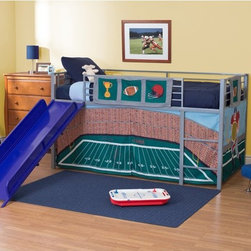 Dorel Home - Football Stadium Junior Fantasy Loft with Slide - Silver - AMW603 - Shop for Bunk Beds from Hayneedle.com! Your little sports star can dream of his favorite players as he slumbers in the comfort of his Football Stadium Junior Fantasy Loft with Slide - Silver. The durable metal construction combined with the always-effective play call of the guard rails ensure a one-two-hup in safety. The bright fun slide is sure to be his favorite part. He can slide into the end zone in style with the available color selections. The themed tent creates a cozy play area under the bunk and can be removed to be laundered or stored as your child grows up.About Dorel IndustriesFounded in 1962 Dorel Industries is a family of over 26 brands including bicycle brands Schwinn and Mongoose baby lines Safety 1st and Quinny as well as home furnishing brands Ameriwood and Altra Furniture. Their home furnishing division specializes in ready-to-assemble pieces including futons microwave stands ladders and more. Employing over 4 500 people in 17 countries and over four continents Dorel is renowned for their product diversity and exceptionally strong commitment to quality.We take your family's safety seriously. That's why all of our bunk beds come with a bunkie board slat pack or metal grid support system. These provide complete mattress support and secure the mattress within the bunk bed frame. Please note: Bunk beds and loft beds are only to be used by children 6 years of age or older.