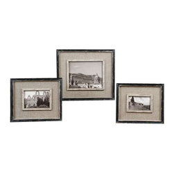 Uttermost Kalidas Cloth Lined Photo Frames, Set/3 - Distressed black frame with gray undertones and burlap liner. Distressed black frames with gray undertones and burlap liner. Holds photo sizes: 4x6, 5x7 & 8x10. Frames sizes: sm-10x12x1, med-11x13x1, lg-14x16x1