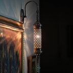 Ottoman Wall Sconce - The Anadolu Collection is made from pulsed glass and the metal parts are from antique silver.They come for USA with E-12 and for Europe with E-14 bulb holders.