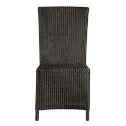 """Captiva Java Side Chair - A new dining dress code. All-weather wicker with a java brown finish """"slipcovers"""" a powdercoated aluminum frame that can move from the dining room to the patio and back again. Clean-lined, comfortable side chair has a generous seat and high, angled back."""