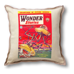 "Museum of Robots - Pillow Cover: Wonder Stories February 1934, Natural Linen Trim - Brighten up the place with one of our pillow covers. This cover art from the February 1934 issue of Wonder Stories features ""The Spore Doom"" art of Frank R. Paul, father of sci-fi illustration."