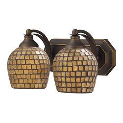 Elk Lighting - Vanity 2-Light Bathbar in Aged Bronze and Gold Mosaic Glass - Vanity 2-light bathbar in aged bronze and gold mosaic glass