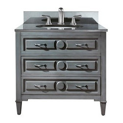 """Avanity - Avanity Kelly 36"""" Bathroom Vanity - Grayish Blue - The Kelly 36"""" vanity features a new soft grayish blue finish with transitional styling that would compliment any bathroom. Hand-crafted out of solid poplar wood and MDF. Two dove tailed drawer boxes with soft close glides are finished with antique nickel door pulls. Features36""""W x 21""""D x 35""""HVanity only in grayish blue finishPoplar solid wood frame and MDFOld nickel finished hardware2 soft-close drawers2 soft-close drawersAdjustable height levelers How to handle your counterSpec Sheet Natural stone like marble and granite, while otherwise durable, are vulnerable to staining from hair dye, ink, tea, coffee, oily materials such as hand cream or milk, and can be etched by acidic substances such as alcohol and soft drinks. Please protect your countertop and/or sink by avoiding contact with these substances. For more information, please review our """"Marble & Granite Care"""" guide."""