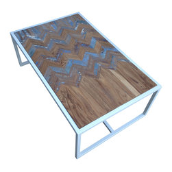"Clear Path - Metal Coffee Table With Teak Chevron Inlay - Approximate dimensions: 44""x27.75""x16"""