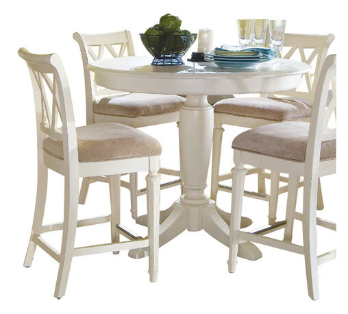 American Drew - American Drew Camden-Light 6-Piece Bar Height Ped Dining Room Set in White Paint - The Camden-Light collection melds simple forms with quiet traditional references, gentle curves and a beautiful time worn ivory finish that lets the character of the wood show through. The brushed nickel finish hardware adds even more character to the Camden collection. This line will work great in your renovated farm house or a smaller beach cottage get-away.