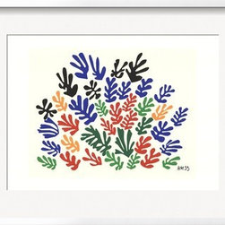 Artcom - Spray of Leaves by Henri Matisse - Spray of Leaves by Henri Matisse is a Framed Art Print set with a White Shadowbox wood frame and a Conservation Super White mat.