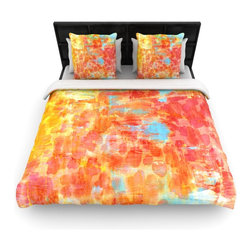 """Kess InHouse - Ebi Emporium """"Pastel Jungle"""" Orange Red Cotton Duvet Cover (King, 104"""" x 88"""") - Rest in comfort among this artistically inclined cotton blend duvet cover. This duvet cover is as light as a feather! You will be sure to be the envy of all of your guests with this aesthetically pleasing duvet. We highly recommend washing this as many times as you like as this material will not fade or lose comfort. Cotton blended, this duvet cover is not only beautiful and artistic but can be used year round with a duvet insert! Add our cotton shams to make your bed complete and looking stylish and artistic!"""