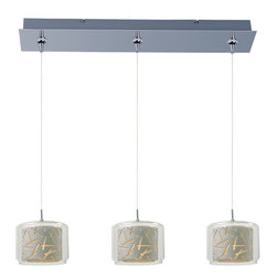 ET2 - ET2 E94849 Confetti Collection 3 Light Linear Jar Shade Foyer Pendant - Bulbs In - ET2 E94849 Three Light Linear Jar Shade Foyer Pendant from the Confetti Collection Collection - Bulbs IncludedHanging down like jars, the Confetti Collection linear three light foyer pendant features creatively designed shades with etched lines that will jazz up your home with renewed style.ET2 E94849 Specifications: