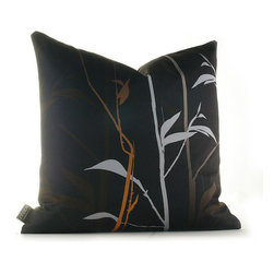 """Inhabit - Morning Glory Tall Grass Pillow in Charcoal and Rust - The Morning Glory collection makes being in a room an easy thing to do. Don't blame us if you are late for work, sleep right through morning mass or find yourself secretly wishing for rainy days. We use perfect thread counts matched with the right fabrics to ensure ridiculous softness and comfort. Features: -Morning Glory collection. -Made from 100% sustainable recycled polyester. -Handprinted and handmade in the USA. -Environmentally-friendly inks with no chemical waste or disposal generated. -Recyclable at the end of its life-cycle. -Zipper closure for easy removal and cleaning. -Pillow inserts are 95% feather / 5% down. Specifications: -Material: Polyester. -Available sizes:. -18"""" W x 18"""" L. -13"""" W x 24"""" L."""